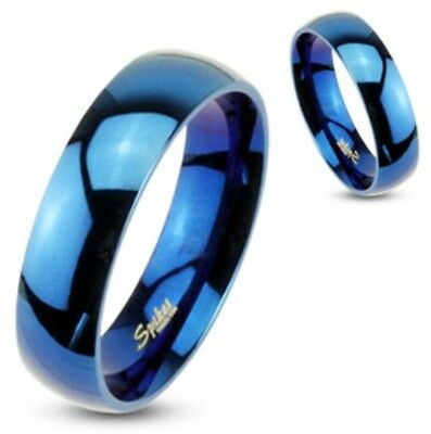 316L Blue Stainless Steel Ring-Mens/Womens/Couples/Wedding Band-Size 5-14 (R004)
