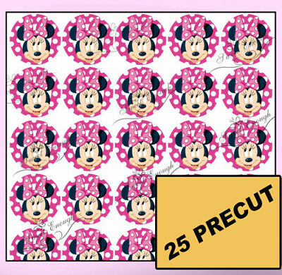 35 Precut Minnie Mouse PINK BIRTHDAY Edible Wafer Rice Paper Cupcake Cake Topper