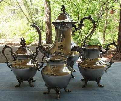 Goldfeder Birmingham Silver Floral Finial Footed 4 Pc Coffee Set Server Creamer