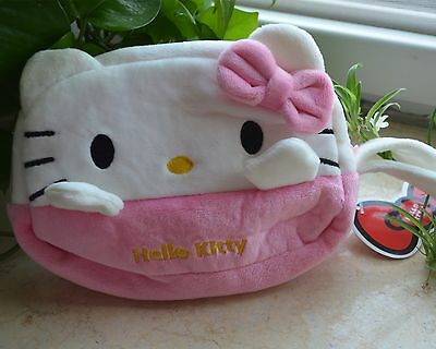 Pink Hello Kitty Plush Makeup Bag, Cosmetic Case / Wallet Cell Bag Free Shipping