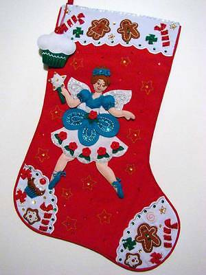 """ FAIRY SWEET "" BUCILLA FELT 21"" SEQUINED CHRISTMAS STOCKING~READY TO HANG"
