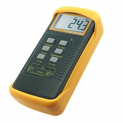 2 K-Type Digital Thermometer w/ Thermocouple Sensors -50~1300°C Min/Max/Avg