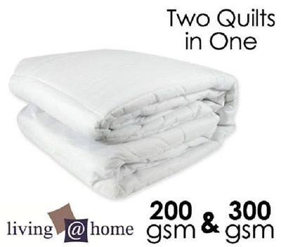 Two Quilts In One 300GSM & 200GSM All Season Microfiber Doona/Quilt-Single Size