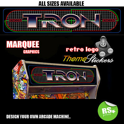 Arcade Marquee Stickers Artwork Graphic Laminated All Sizes Design Tron + More