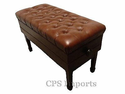 Duet GENUINE LEATHER Walnut High Polish Adjustable Piano Bench/Stool/Chair