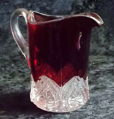 EAPG Creamer Ruby HEART BAND by McKee Brothers Glass Co.