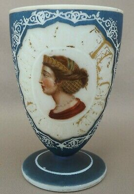 Antique French Hand Painted Gold Opaline Cup Goblet Queen Face Portrait 19th