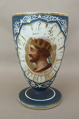 Antique French Hand Painted Gold Opaline Cup Goblet King Face Portrait 19th
