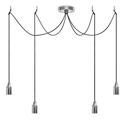 Contemporary Silver Chrome 4 Way Suspended Lampholder Ceiling Light Fitting Home