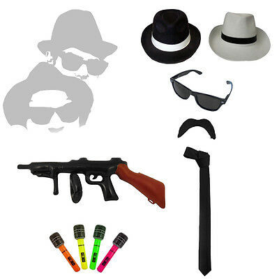 0cd81a996a2 Mens Fancy Dress 20 s 30 s Gangster Blues Brothers Hat Glasses Fedora Tie  Braces