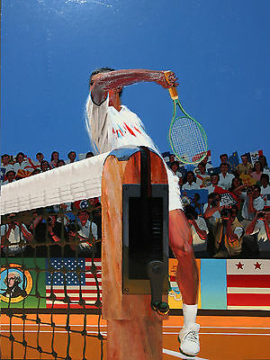PHILIP LE BAS-British/French -Large Enamel Painting- Tennis Championship-1988