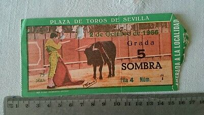 BULLFIGHT TICKET: BULL RING of SEVILLA 2 OCTOBER 1966 Ref:0013
