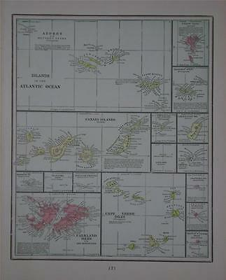 1901 Atlantic Islands Original Color Map** Azores, Canary Islands, Falklands,etc