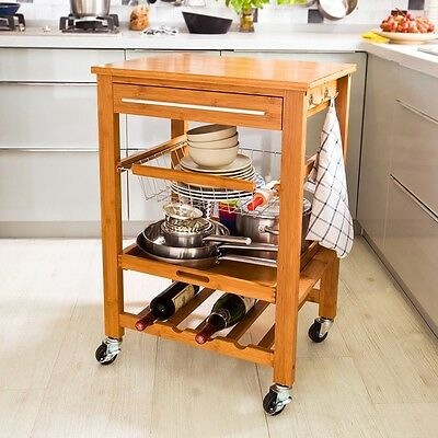 SoBuy® Stable Bamboo Kitchen Trolley Cart on Wheels,Serving Cart,FKW07-N,UK