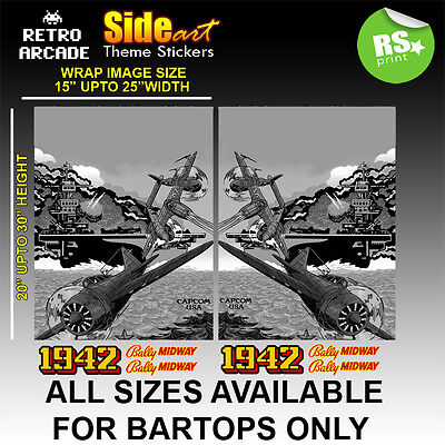 1942 Arcade Side Wrap Artwork Sticker Graphics logos / Laminated All Sizes