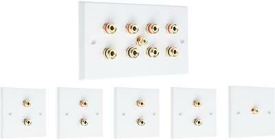 Complete 4.1 SOLDER-LESS White Speaker Audio Wall Face Plate kit Banana Plugs