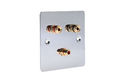 1.1 Post Speaker Wall Face Plate Solder-less Polished Mirror Chrome