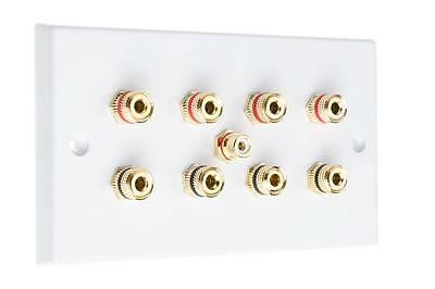 4.1 White Speaker Audio Wall Face Plate Solder-less