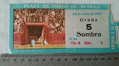 BULLFIGHT TICKET: BULL RING of SEVILLA 20 JULY 1967 Ref:0046