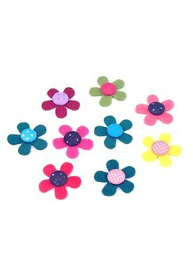 5 bunte Filzapplikationen, Blume, Bastelfilz, ca, 31 x 6 mm, Multicolor
