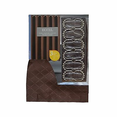 3 PC Bath Set Brown Fabric Shower Curtain 12 Roller Ball Hooks And Clear Liner