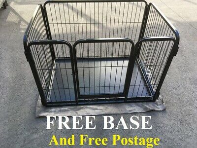 New 108cm Heavy Duty Dog Cage 4 Sided Crate Puppy Play Pen Enclosure FREE BASE