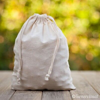 Cotton Calico Pouch Favor Wedding Party Bag Drawstring Natural Material 12 Sizes