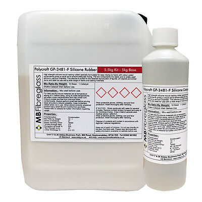 Polycraft GP-3481-F RTV Silicone Mould Making Rubber 5.5kg Kit (Clear Catalyst)