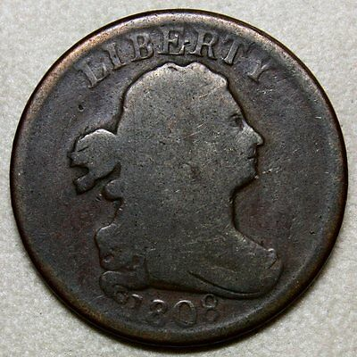 1808 Draped Bust Half Cent * Original and Honest * Chocolate Brown Coloring