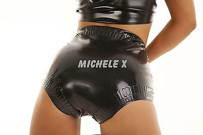 NEW Black Latex Rubber Frilled Baby Briefs (ENGLISH) S M L XL