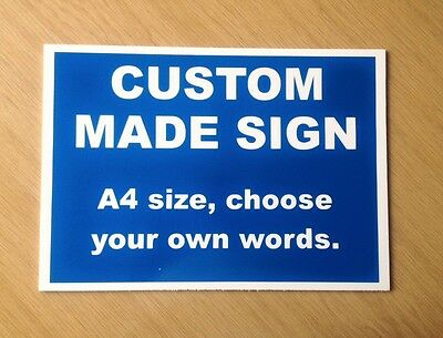 Custom made Personalised Plastic Sign in Blue