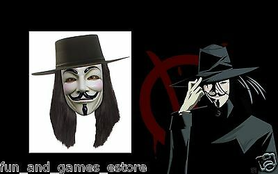V FOR VENDETTA Costume MASK, WIG, HAT SET Guy Fawkes Anonymous LICENSED NEW