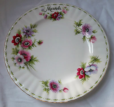 "ROYAL ALBERT CHINA MARCH ANEMONES FLOWER of the MONTH 8"" DIAMETER LUNCHEON PLATE"