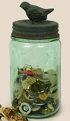 Classic Mason's Patent 1858 Canning Fruit Jar with SONGBIRD Lid Barn Roof Gray