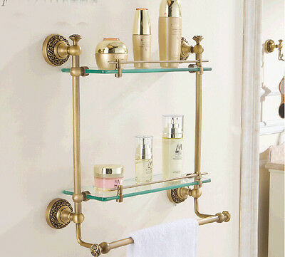 Luxury Wall Mounted Bathroom Antique Brass Shelf Dual Glass Tiers With Towel Bar