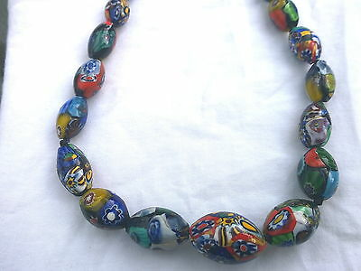 Antique Venetian Rare Murano Rooster Cane Glass Bead Necklace 1910 Restrung