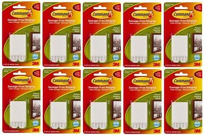 10 x 3M COMMAND MEDIUM PICTURE & FRAME HANGING STRIPS 4 PER Pk 17201 HOLDS 5.4Kg