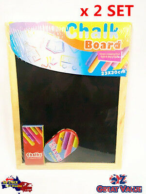 2 Sets Chalkboard with Chalk And Eraser Blackboard 20x30cm Kids Art (S524x2)