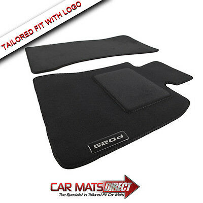 BMW 5 Series Saloon/Estate F10 520d 10-13 Tailored Black Velour Car Mats + Logos