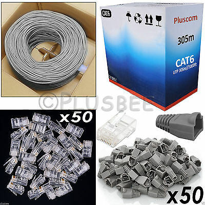 305M Cat 6 Ethernet Network Cable Roll & RJ45 50pc Connectors & Boot Network Kit