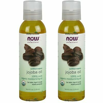 2 x NOW Foods 100% Pure Certified Organic Jojoba Oil 4 oz 118ml Moisturizing