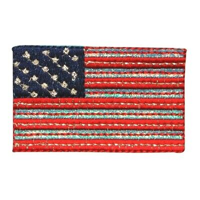 d22bdbd4b07 ID 1035 Reflective American Flag Patch Patriotic Embroidered Iron On  Applique