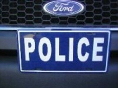 """Police Blue White Letter 6""""x12"""" Aluminum License Plate Tag"""