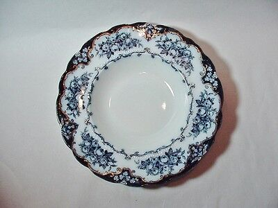 Antique Flow Blue Ridgeways 5 Soup Bowls, Rose Pattern / Gold Trim Early 1900s