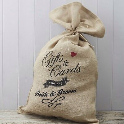 Rustic/vintage Burlap Wedding Sack for cards/gifts with brown string and tag