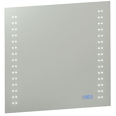 Saxby Beta bathroom mirror LED w/ shaver socket / demister hand / sensor & clock
