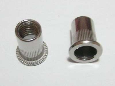 Qty 100 M6 Large Flange Nutserts 304 A2 Stainless Steel Rivet Nut Nutsert Nuts