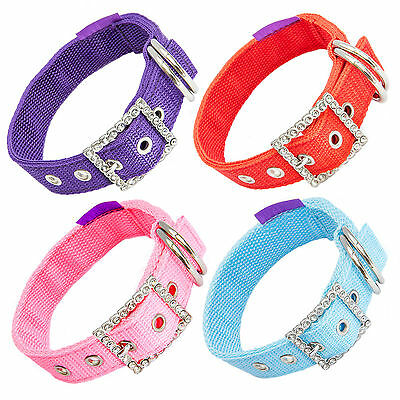 Posh Petz® Deluxe Extra Strong Nylon Dog Collar With Diamanté Buckle S M L XL