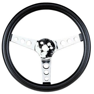 EMPI Steering Wheel, CHROME 3-SPOKE,13-1/2 DIA, 3-1/2 DISH VW BUG BAJA BUGGY