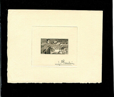 Laos 1957 RICE Complete set of 4 signed Artist Die Proofs IN BLACK Scott 37-40